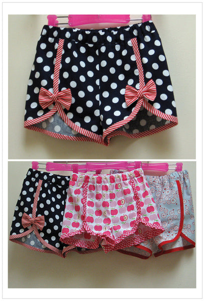 Gidget Shorts, girls shorts pdf sewing pattern sizes 2 to 14 years. - Felicity Sewing Patterns