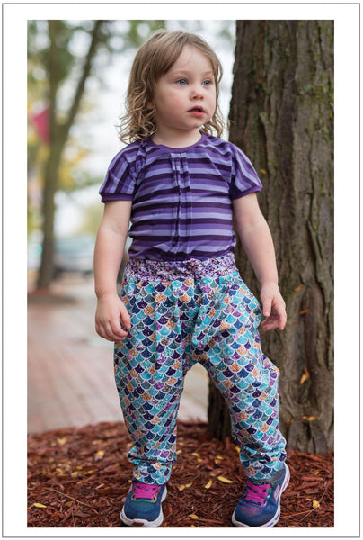 Boy and girl harem pants PDF sewing pattern for babies and toddlers, PANDA PANTS sizes 3+ months to 6 years - Felicity Sewing Patterns