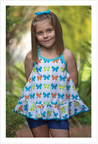 Wrap-back top sewing pattern RIO TOP & DRESS sizes 4-14 years in 5 versions - Felicity Sewing Patterns
