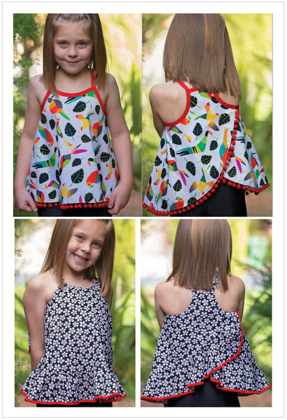 Summer top & dress sewing pattern RIO TOP & DRESS sizes 4-14 years. 5 versions included. - Felicity Sewing Patterns