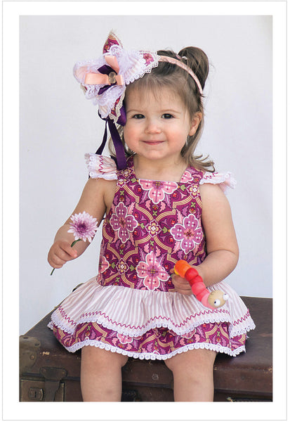 Romper pdf sewing pattern, baby & toddler romper TINKERBELLE ROMPER  sizes 3 months to 3 years. - Felicity Sewing Patterns