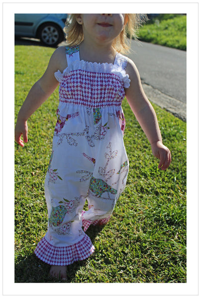 Baby & toddler girls sewing pattern PLAYGROUND ROMPER sizes 3 months to 6 years. - Felicity Sewing Patterns