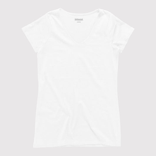 littlebit Womens V Neck T-Shirt in white