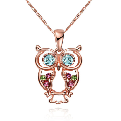 2017 new owl rose gold necklace,LKN027