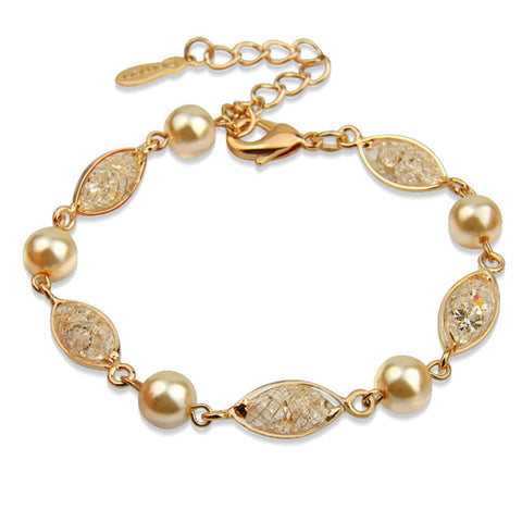 Luxury Simulated Pearl Bracelet For Women Champagne Gold Plated Cubic Zirconia,BME007