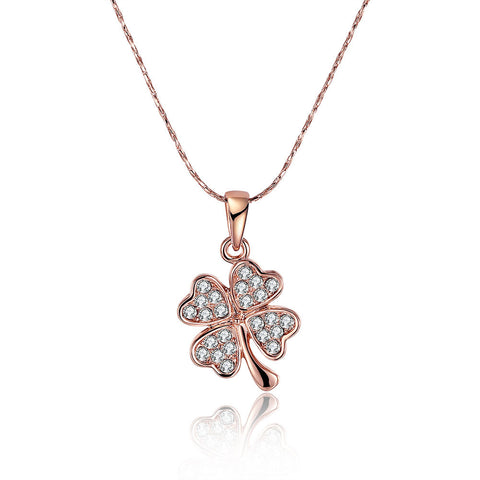 18K gold-plated diamond buds pendant necklace, LKN029