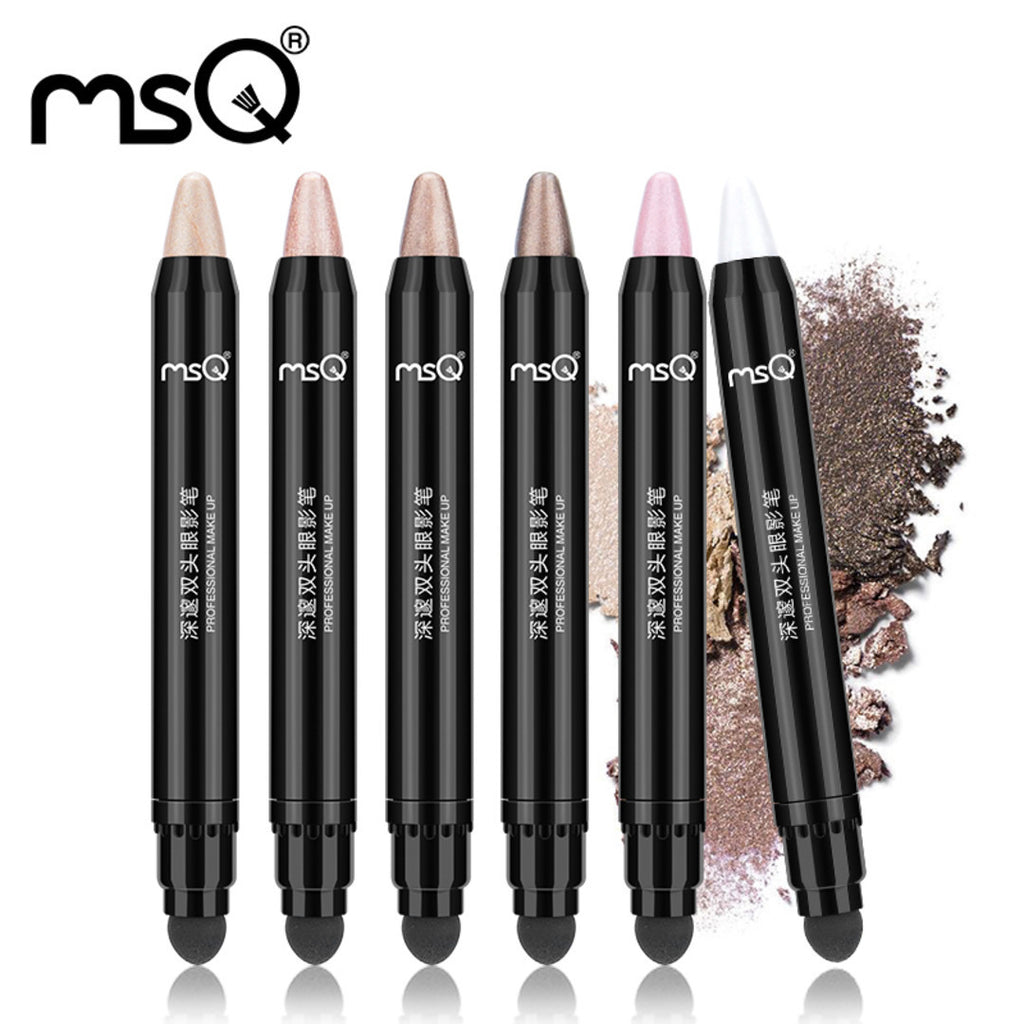 Eyeshadow Cream Pen Double Ended Cosmetics Eye Shadow Pencil Highlighter Shimmer With Sponge Applicator, MSQ025