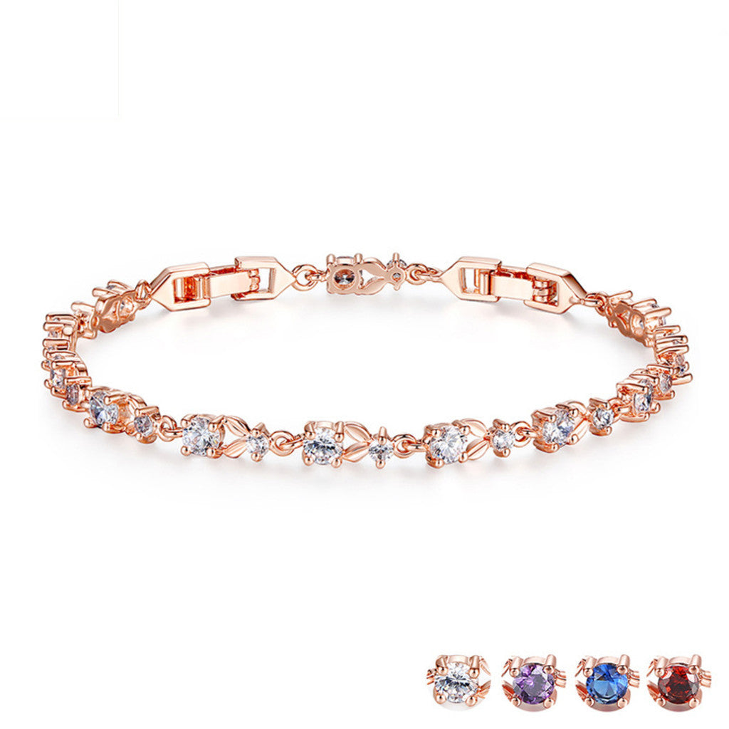 6 Colors Luxury Rose Gold Plated Chain Bracelet for Women Ladies Shining AAA Cubic Zircon Crystal Jewelry,PA011