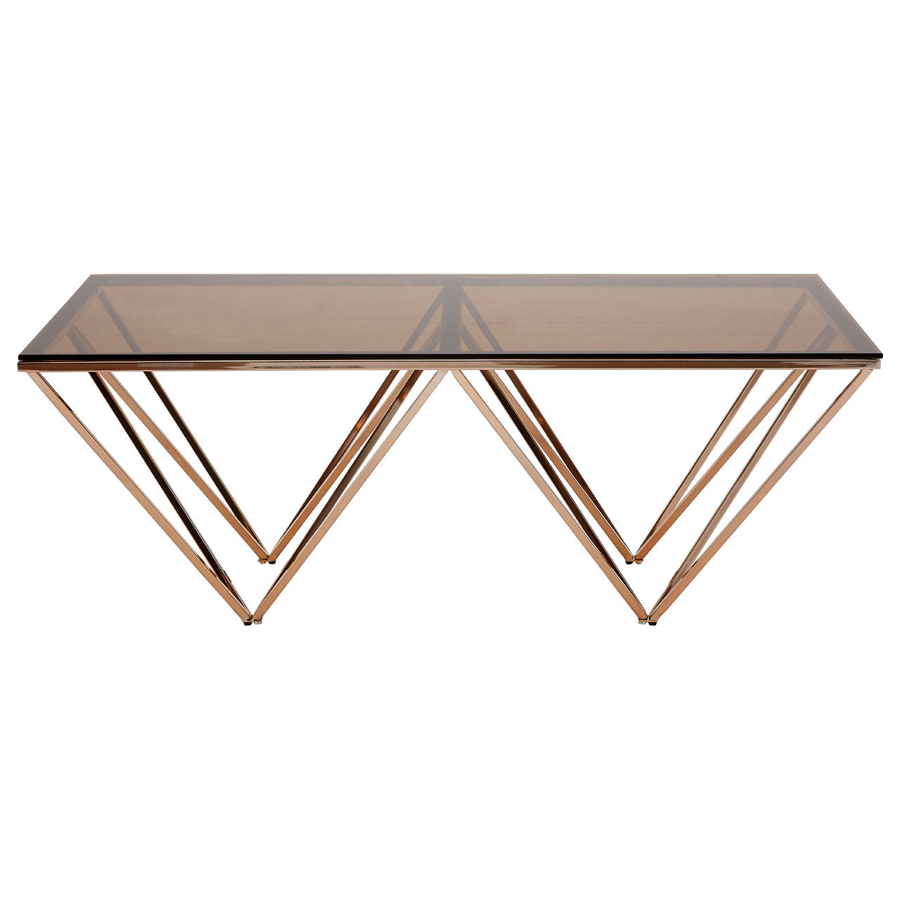 Allure Coffee Table Champagne Gold with Rose Glass Top - Ezzo