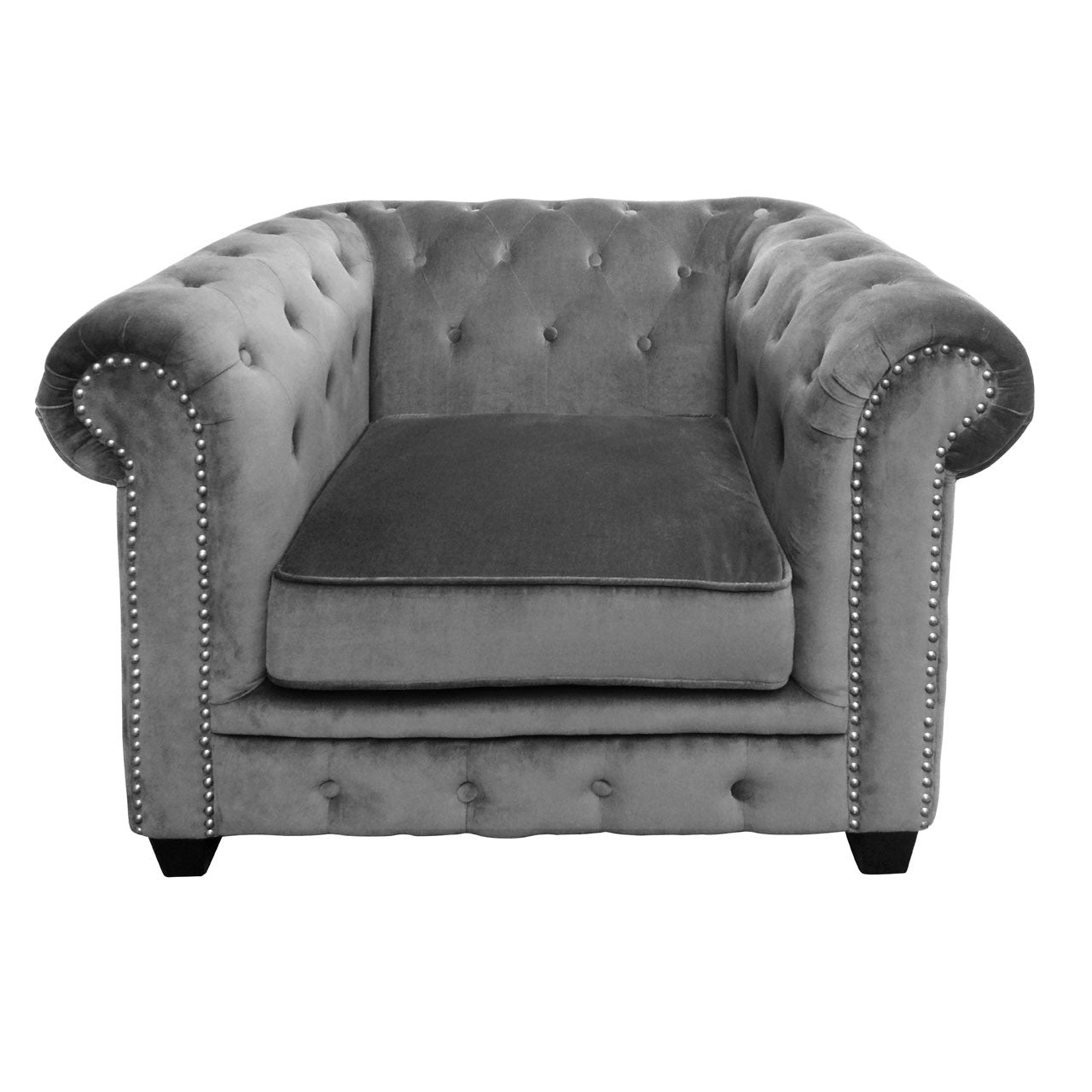 Regents Park Chesterfield Chair in Grey