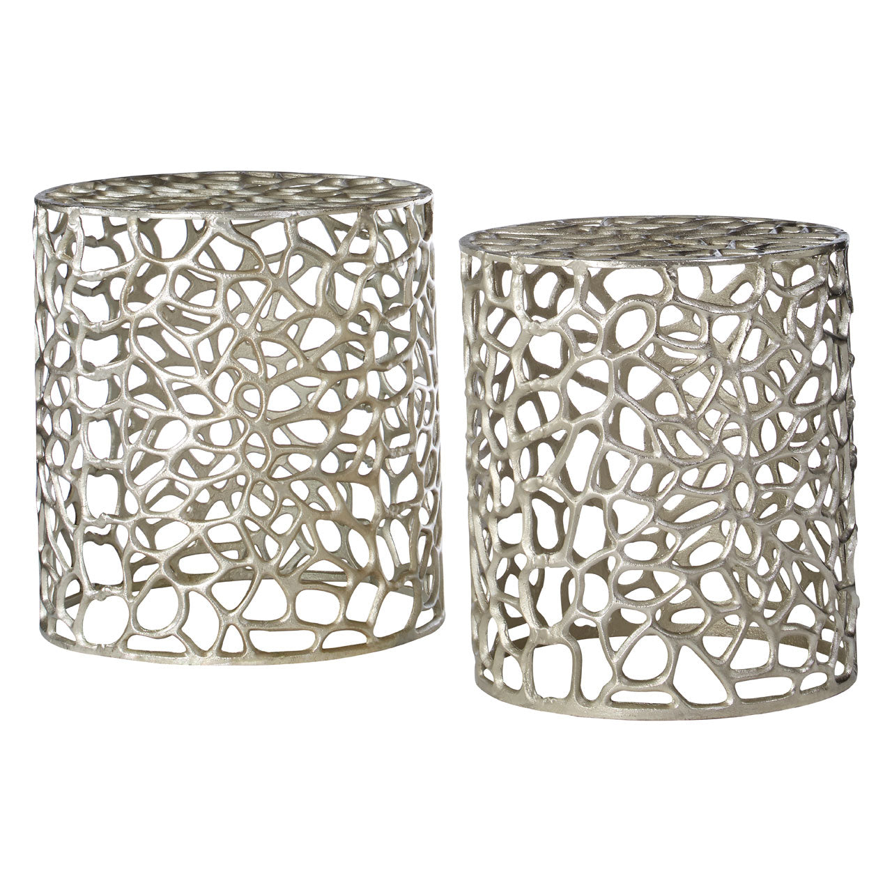 Templar Set Of 2 Stools in Silver