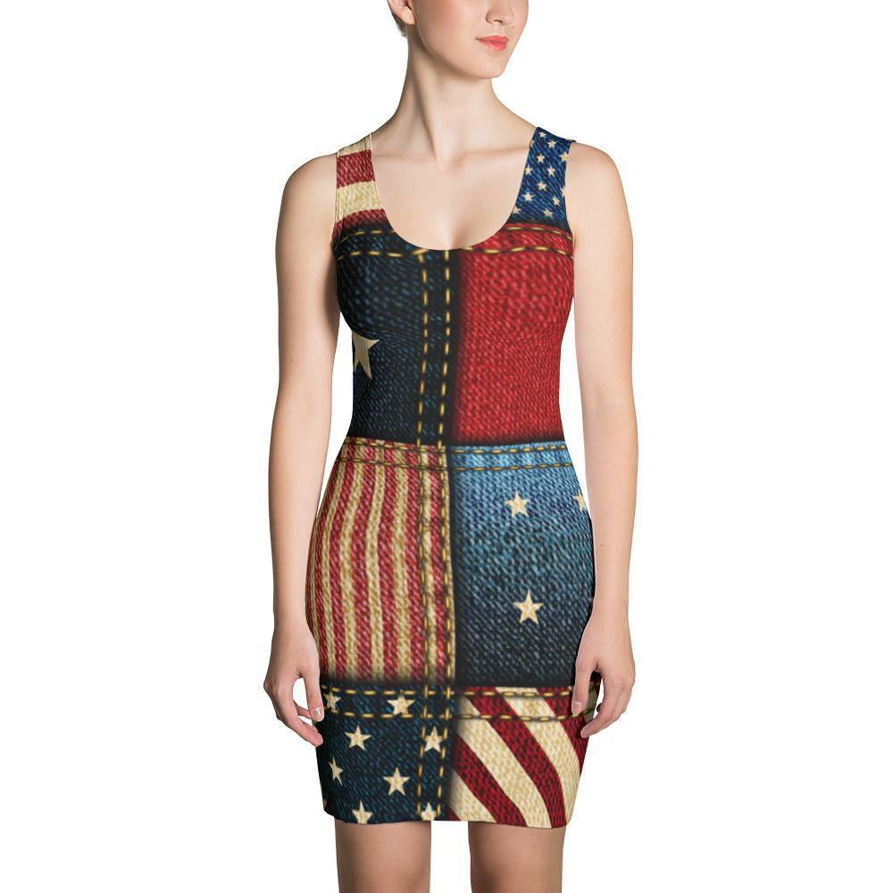American Flag Jean Stitch Dress - Miss Deplorable