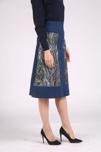 Navy Doc A Line Skirt with Bespoke Printed Pockets