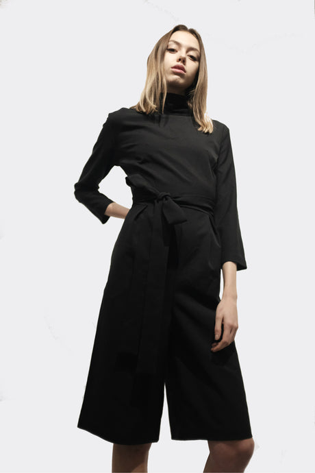 Black Culottes High Collar Jumpsuit with Pockets
