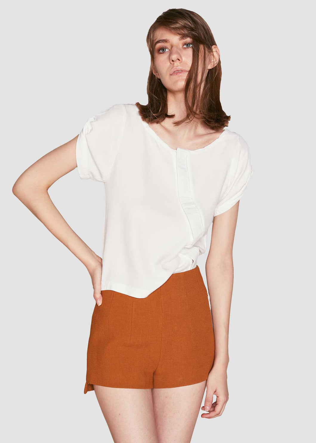 White Asymmetric Button Down Top