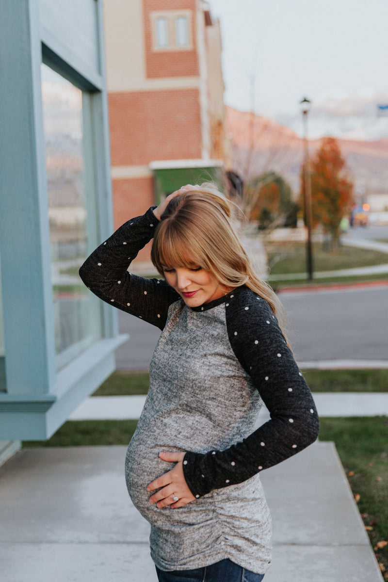 Maternity Polka-Dot Sleeve Top