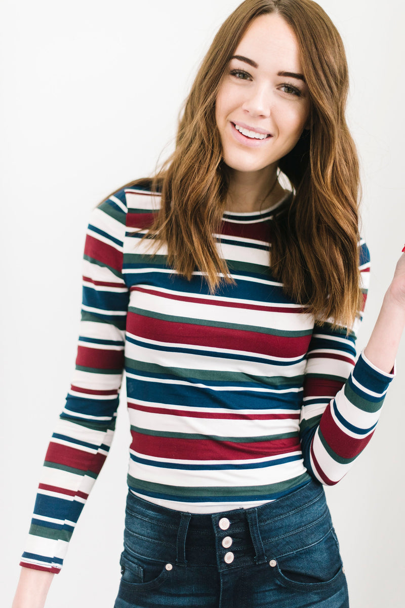 Candy Cane Striped Top in Wine/Navy