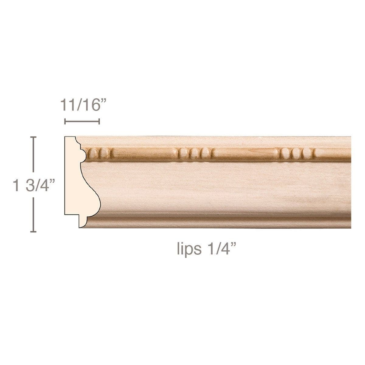 "Bead and Barrel (Lips 1/4), 1 3/4""w x 11/16""d"