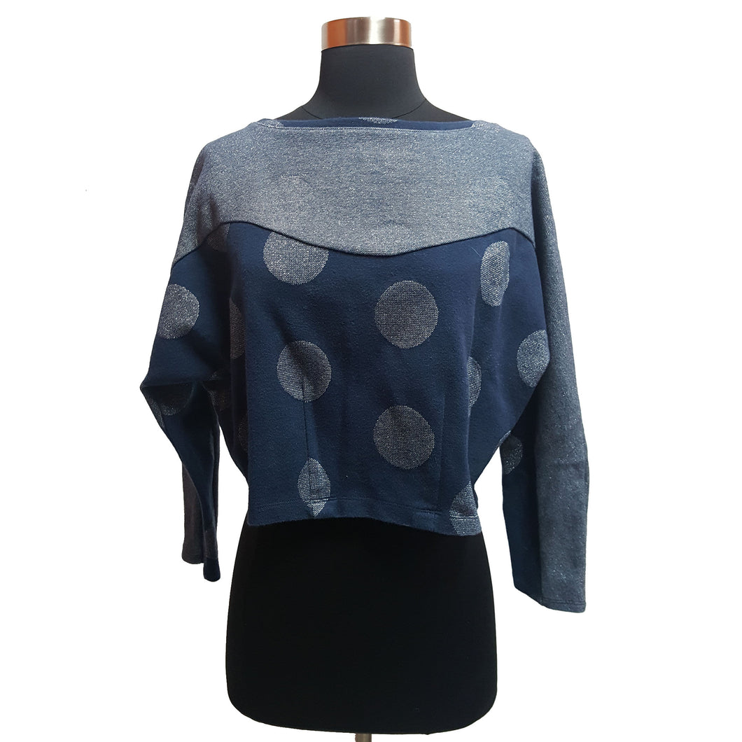 Anthropologie Cropped Metallic Top with Polka Dots