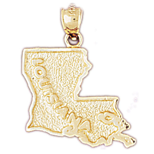14K GOLD STATE MAP CHARM - LOUISIANA #5090