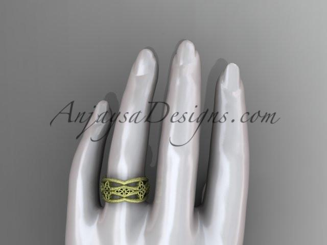 14kt yellow gold celtic trinity knot wedding band, matte finish wedding band, engagement ring CT7519G - AnjaysDesigns