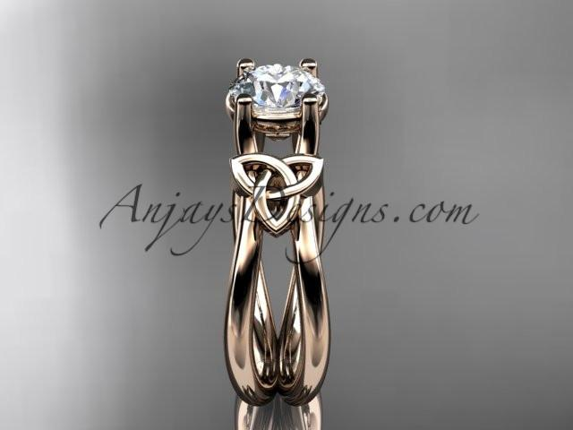 "14kt rose gold diamond celtic trinity knot wedding ring, engagement ring with a ""Forever One"" Moissanite center stone CT7130 - AnjaysDesigns"