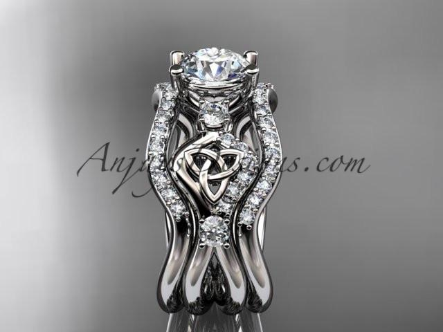 platinum celtic trinity knot engagement ring, wedding ring with double matching band CT768S - AnjaysDesigns