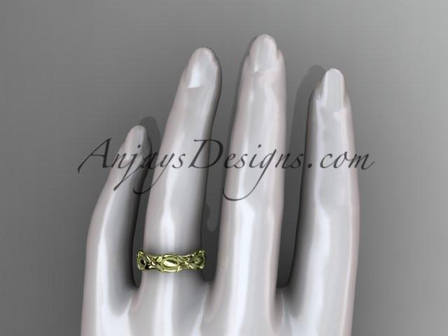 14kt yellow gold leaf and vine wedding band,engagement ring ADLR152G - AnjaysDesigns