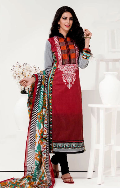 RED-BLACK PRINTED COTTON UNSTITCHED LONG SALWAR KAMEEZ SUIT DRESS MATERIAL LADIES DEN - Ladies Den