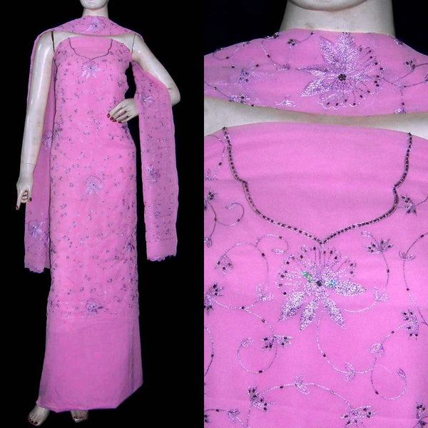 PINK MICRO CHIFFON UNSTITCHED SALWAR KAMEEZ SUIT DRESS MATERIAL RESHAM EMBR LADIES DEN - Ladies Den