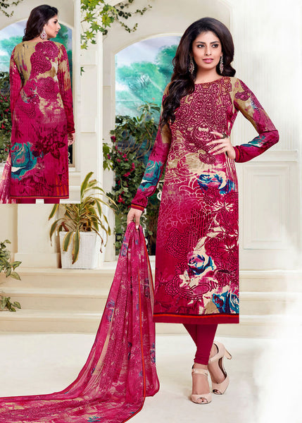 DARK PINK PRINTED PASHMINA WOOL UNSTITCHED SALWAR KAMEEZ SUIT DRESS MATERIAL LADIES DEN - Ladies Den