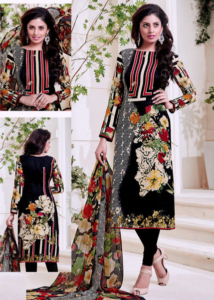 BLACK PRINTED PASHMINA WOOL UNSTITCHED SALWAR KAMEEZ SUIT DRESS MATERIAL LADIES DEN - Ladies Den