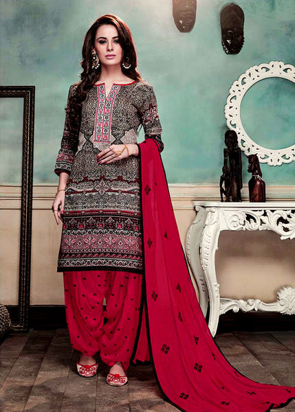 BLACK-RED PRINTED GLAZED COTTON UNSTITCHED PATIALA SALWAR KAMEEZ SUIT DRESS MATERIAL w EMBR LADIES DEN - Ladies Den