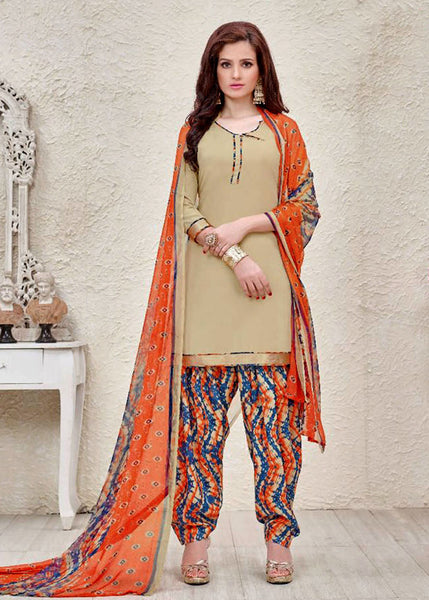 BEIGE-ORANGE PRINTED SEMI-CREPE UNSTITCHED PLUS SIZE CASUAL SALWAR KAMEEZ SUIT DRESS MATERIAL LADIES DEN - Ladies Den