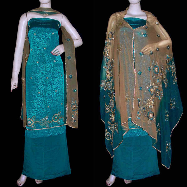 DARK CYAN JACQUARD CREPE UNSTITCHED SALWAR KAMEEZ SUIT DRESS MATERIAL HEAVY DUPATTA KUNDAN & SEQUINS WORK LADIES DEN - Ladies Den