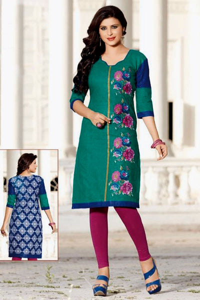 TEALGREEN-DARKBLUE PRINTED COTTON CUSTOM STITCHED KURTI - KURTA - KAMEEZ UPTO READY SIZE 50 LADIES DEN - Ladies Den