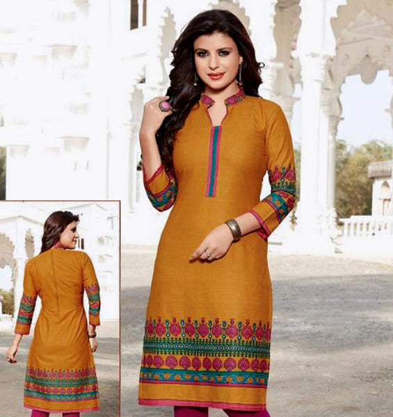 DARK YELLOW PRINTED COTTON CUSTOM STITCHED KURTI - KURTA - KAMEEZ UPTO READY SIZE 48 LADIES DEN - Ladies Den