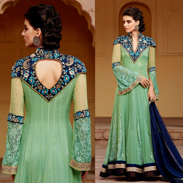 AQUAMARINE NET UNSTITCHED ANARKALI SALWAR KAMEEZ SUIT DRESS MATERIAL w EMBR UPTO READY SIZE 50 LADIES DEN - Ladies Den