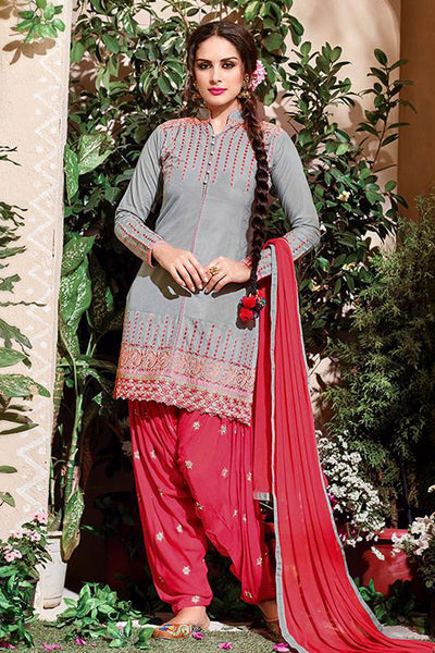 GRAY-CARROT RED COTTON UNSTITCHED SALWAR KAMEEZ SUIT DRESS MATERIAL w EMBR LADIES DEN - Ladies Den
