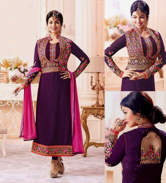 DARK PURPLE GEORGETTE UNSTITCHED JACKET STYLE LONG SALWAR KAMEEZ SUIT DRESS MATERIAL w EMBR LADIES DEN - Ladies Den