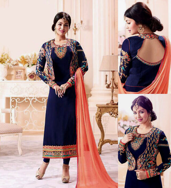 NIGHT BLUE GEORGETTE UNSTITCHED JACKET STYLE LONG SALWAR KAMEEZ SUIT DRESS MATERIAL w EMBR LADIES DEN - Ladies Den