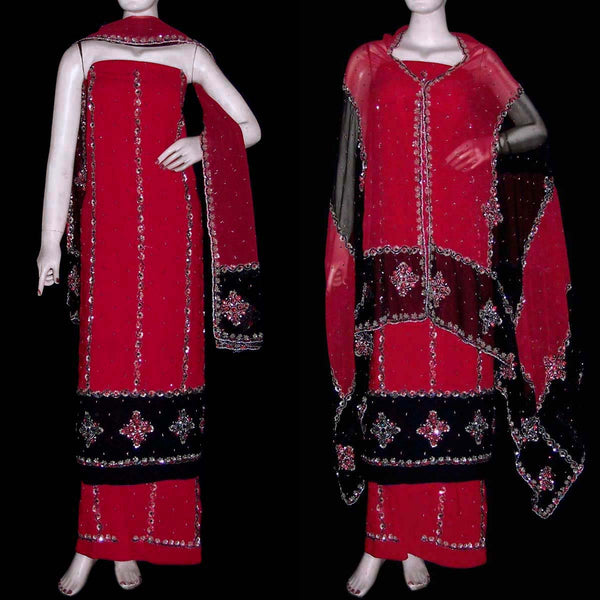RED-BLACK GEORGETTE CREPE UNSTITCHED SALWAR KAMEEZ SUIT DRESS MATERIAL HEAVY DUPATTA KUNDAN & BEADS WORK LADIES DEN - Ladies Den
