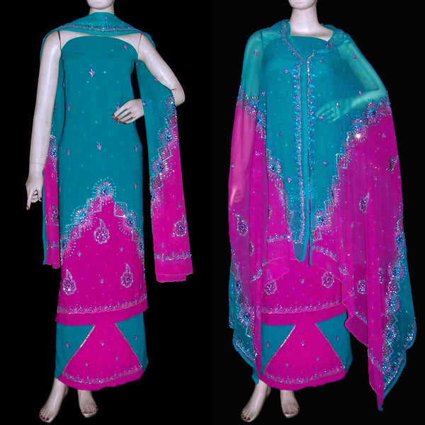 DARK TURQUOISE-DEEP PINK GEORGETTE CREPE UNSTITCHED SALWAR KAMEEZ SUIT DRESS MATERIAL HEAVY DUPATTA KUNDAN & BEADS WORK LADIES DEN - Ladies Den