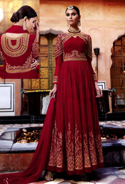 MAROON RED GEORGETTE UNSTITCHED HEAVY DESIGNER ANARKALI SALWAR KAMEEZ SUIT DRESS MATERIAL LADIES DEN