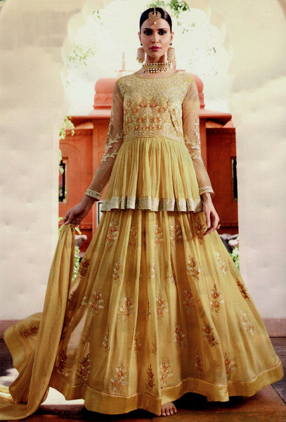 GOLDEN YELLOW GEORGETTE UNSTITCHED HEAVY DESIGNER ANARKALI SALWAR KAMEEZ SUIT DRESS MATERIAL LADIES DEN - Ladies Den