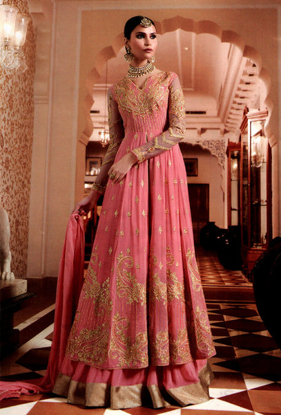 HOT PINK GEORGETTE UNSTITCHED HEAVY DESIGNER ANARKALI SALWAR KAMEEZ LENGHA SUIT DRESS MATERIAL LADIES DEN - Ladies Den
