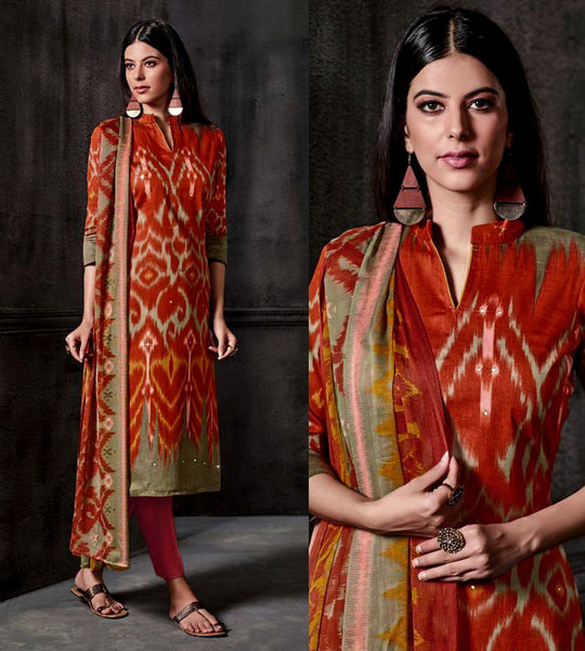 RUSTY ORANGE IKAT STYLE PRINTED SATIN COTTON UNSTITCHED SALWAR KAMEEZ SUIT DRESS MATERIAL w MIRROR WORK LADIES DEN