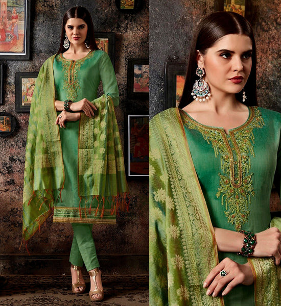 SEA GREEN CHANDERI SILK BANARASI DUPATTA UNSTITCHED SALWAR KAMEEZ SUIT DRESS MATERIAL BEADS WORK LADIES DEN