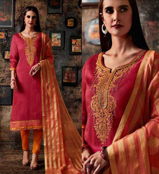CARROT PINK-SAFFRON CHANDERI SILK BANARASI DUPATTA UNSTITCHED SALWAR KAMEEZ SUIT DRESS MATERIAL BEADS WORK LADIES DEN - Ladies Den