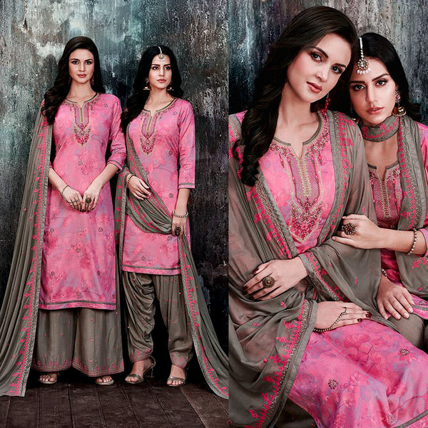 PINK-MOUSE BROWN PRINTED SATIN COTTON UNSTITCHED PATIALA SALWAR KAMEEZ SUIT DRESS MATERIAL UP TO READY SIZE 60 w EMBR LADIES DEN
